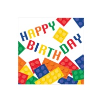 Servilleta de Lego Happy Birthday de 33 x 33 cm - 16 unidades