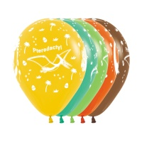Globo de látex de Dino Party de colores de 30 cm - Sempertex - 12 unidades
