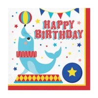 Servilletas de Circo Happy Birthday de 33 x 33 cm - 16 unidades