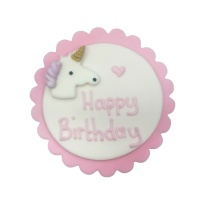 Figuras de azúcar de Unicornio happy birthday - Creative Party