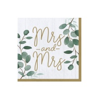 Servilletas de Love & Leaves Mr and Mrs de 16,5 x 16,5 cm - 16 unidades