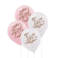 Globo de latex de Love & Leaves de 28 cm - 6 unidades